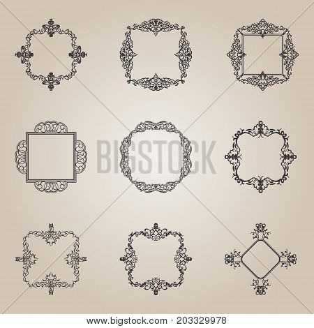 A huge rosette wicker border collection in vector. Vintage yellow symbol for decoration of text, certificate and page. Business flourish signs and classic logo. Motifs frames and ornate elements.