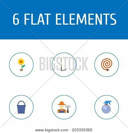 Flat Icons Spray Bottle, Grower, Cutter And Other Vector Elements
