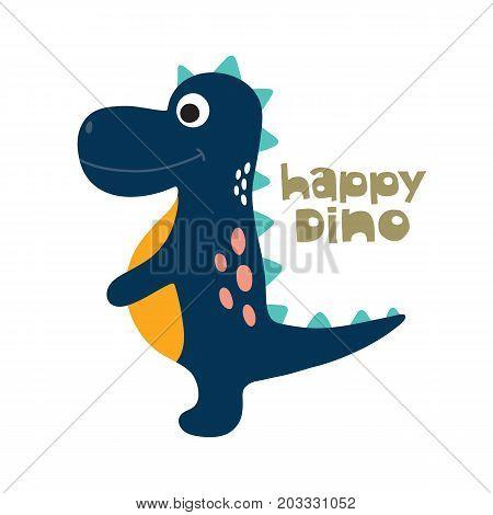 Cute cartoon dino vector illustration. Happy dino