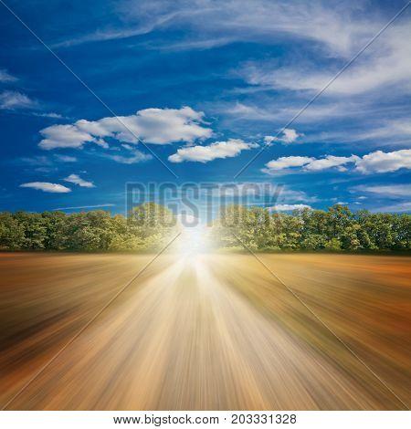Road to autumn. Non-urban background nature sky