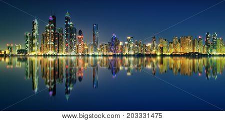 Night Panorama Reflection Of Dubai Marina, Dubai, United Arab Emirates