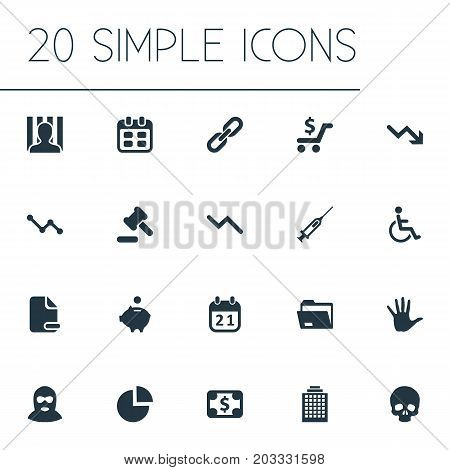 Elements Handicapped Man, Piggy Bank, Bankroll Synonyms Injection, Pie And Arm.  Vector Illustration Set Of Simple Situation Icons.