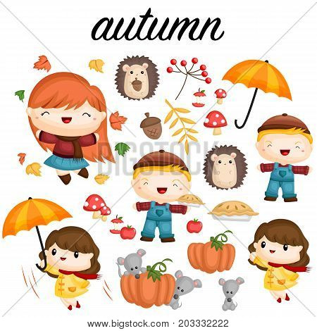 autumn vector set with many item and people