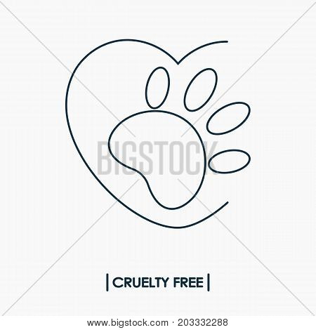 Animal cruelty free logo. Not tested on animals symbol. Rabbit footprint in heart