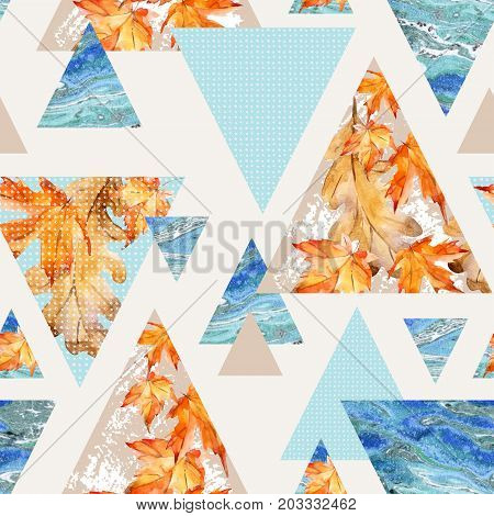 Abstract autumn geometric seamless pattern. Triangles with maple oak leaves marble grunge textures. Abstract geometric background in retro vintage 80s 90s pop art. Hand drawn natural illustration