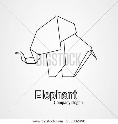 Origami logo contour elephant on a white background. Vector illustration