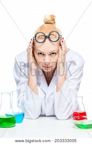 tired ridiculous assistant took ridiculous glasses in the laboratory
