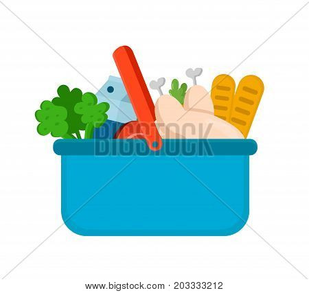 Basket with products from the market. Vector modern flat style cartoon character illustration icon design.Isolated on white background. Food, nutrition,product basket concept.