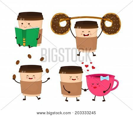 Coffee paper cup vector flat style cartoon fun illustration set. Cute happy icons.  Take away coffee, cafe concept. Read book, gym, date, juggling beans