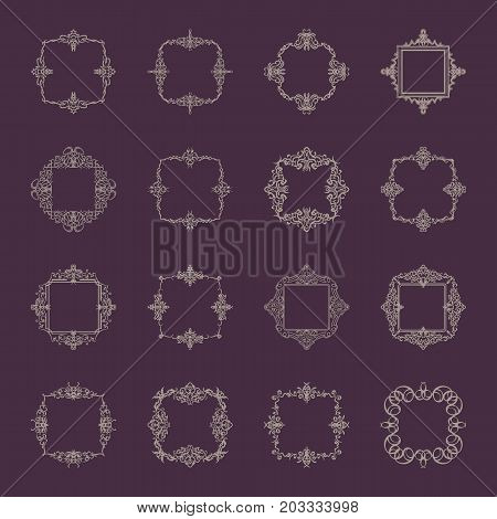 Huge rosette wicker border collection in vector. Yellow vintage text, certificate and page decoration in advertising. Business flourish signs and classic logo. Motifs frames and ornate elements.