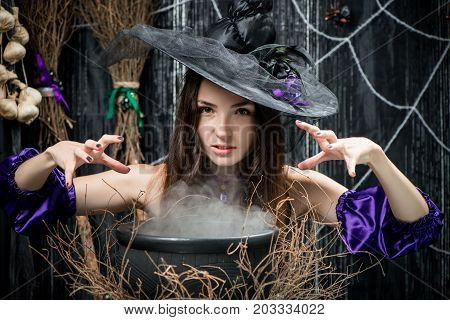 Evil Witch In A Hat Cooks A Potion In A Cauldron