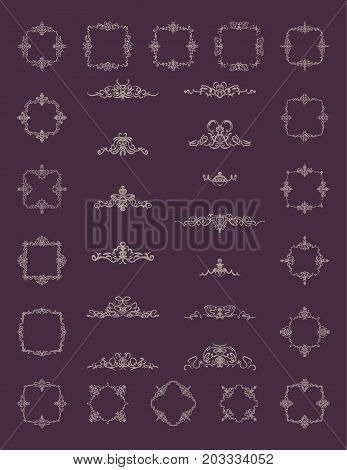 Retro rosette and victorian ornament for decoration text or design logo. Classic wicker sign in huge collection. Motifs frames and ornate elements in vector. Vintage royal scroll for decor menu. Label