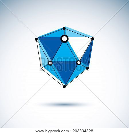 New technology logo. Abstract three-dimensional shape vector design element.