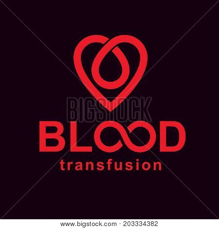 Blood transfusion inscription isolated on white and made using vector red blood drops heart shape and limitless symbol. Take a concern about human life and health blood donation logo.
