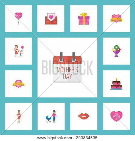 Happy Mother's Day Flat Icon Layout Design With Decoration, Design And Envelope Symbols