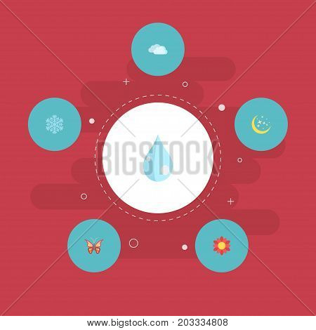 Flat Icons Beauty Insect, Water, Blossom And Other Vector Elements