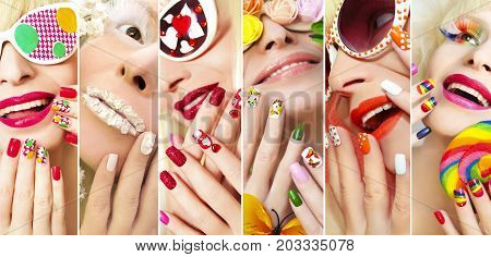 Fashion summer spring collection of makeup and nail Polish on the girl accessories and design on nails.