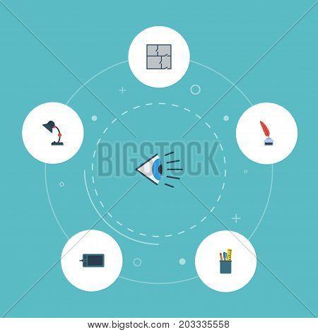 Flat Icons Eye, Illuminator, Scheme And Other Vector Elements