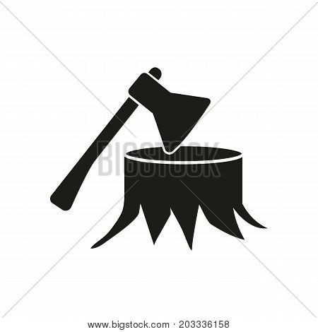 Icon of deforestation concept. Axe, tree stump, environment, forest. Ecology concept. Can be used for topics like destruction, lumber, wood production