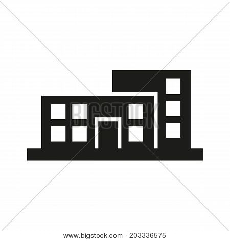 Icon of hospital building. House, architecture, public establishment. Hospital wayfinding concept. Can be used for topics like residential district, school, healthcare institution