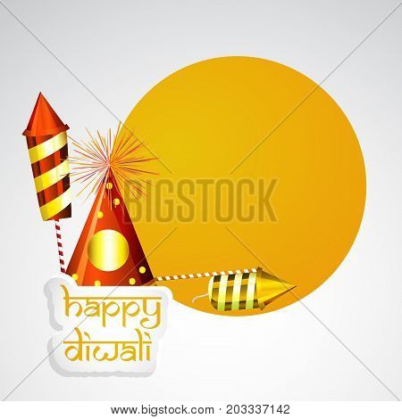 illustration of fire crackers with Happy Diwali text on the occasion of Hindu festival Diwali