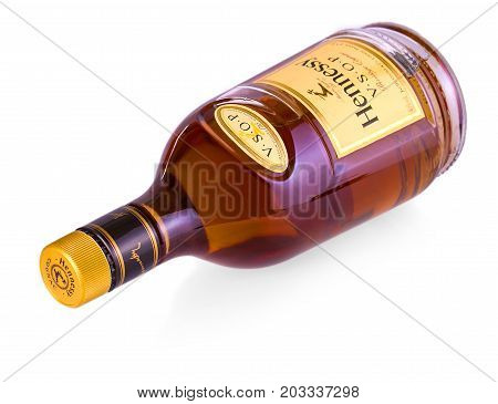 CHISINAU MOLDOVA - AUGUST 17 2017: Bottle of Cognac Hennessy isolated on white background. Created by Maurice Hennessy in 1870. XO stands for Extra Old because of its extended aging process.
