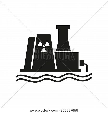 Icon of power station. Hazard, toxication, generating plant. Ecology concept. Can be used for topics like factory, pollution, industry