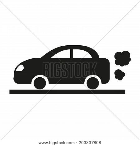 Icon of vehicle flames. Car, road, smoke, waste. Ecology concept. Can be used for topics like pollution, modern life, parking lot