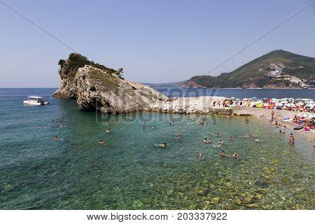 BUDVA, MONTENEGRO - AUGUST 07, 2017:Beach on the island of St. Nicholas in the Adriatic Sea. Budva Montenegro.