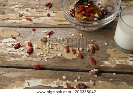 Close-up of breakfast cereals and milk on wooden table