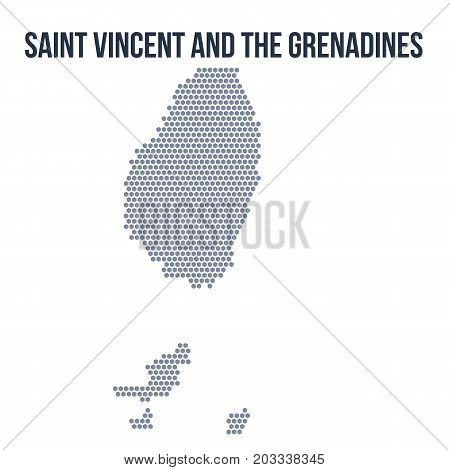 Vector Hexagon Map Of Saint Vincent And The Grenadines Isolated On White Background