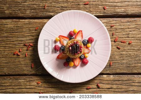 Close-up of healthy breakfast in a plate