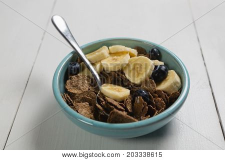 Close-up of breakfast cereals in bowl