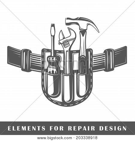 Belt with tools isolated on white background. Element for design. Vector illustration
