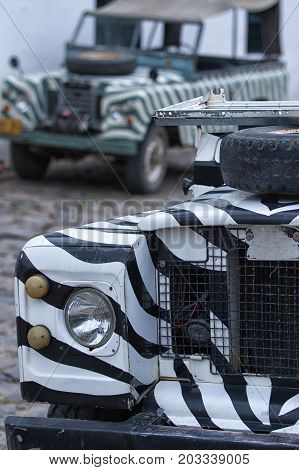 July 20 2017 Villa de Leyva Colombia: vintage all terrain vehicles used by tour companies to carry tourists around