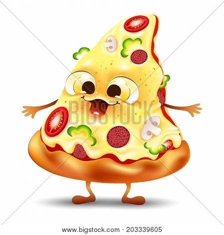 Funny yummy pizza slice character with mushroom and tomato
