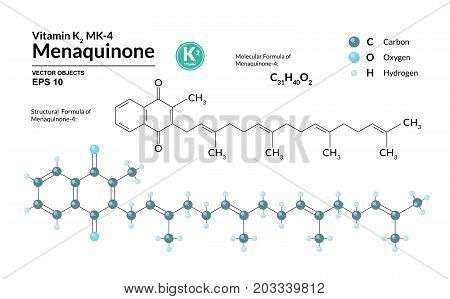 Structural chemical molecular formula and model of Menaquinone-4. Atoms are represented as spheres with color coding isolated on background. 2d 3d visualization. Skeletal formula. Vector illustration