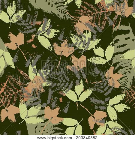Seamless vector pattern with fern and autumn leaves. Background in a camouflage style print on fabric, paper, textile, creation, fall layouts, Wallpapers, banners. Floral ornament, backdrop.
