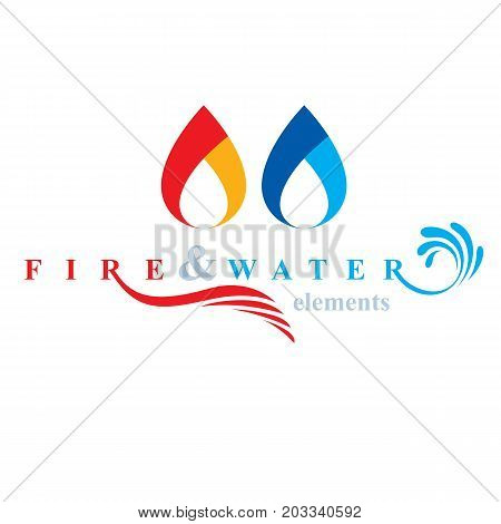 Nature elements harmony logo for use as corporate emblem fire and water balance.