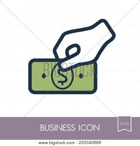 Hand holding money or money in hand outline icon. Hand with money or hand giving money in flat style. Graph symbol for your web site design logo app UI. Vector illustration EPS10.