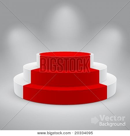 3d isolated Empty white podium with red carpet. Vector illustration.