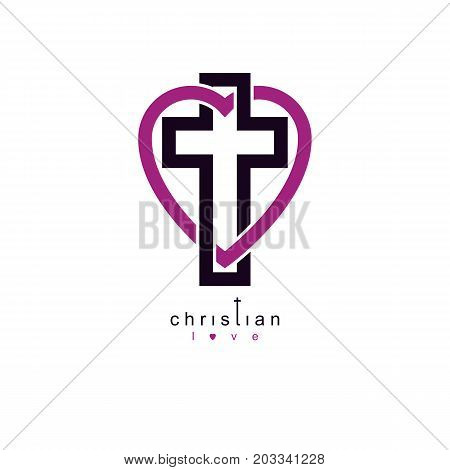 True Christian Love and Belief in God vector creative symbol design combined Christian Cross and heart vector logo or sign.
