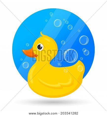 Classical yellow rubber duck with soap bubbles. Vector Illustration of bath toy for baby games. Cartoon style
