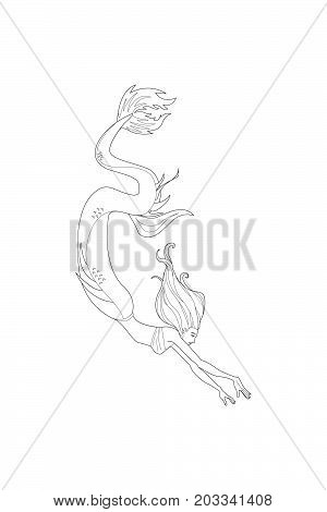 Beautiful cartoon mermaid or siren. Sea theme. Hand drawing isolated objects. Vector illustration. Coloring book