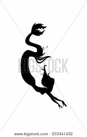 Silhouette of graceful mermaid. Vector illustration without background.