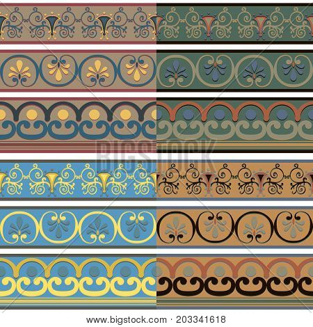 Set of seamless Greek patterns of different colors. Vector illustration.