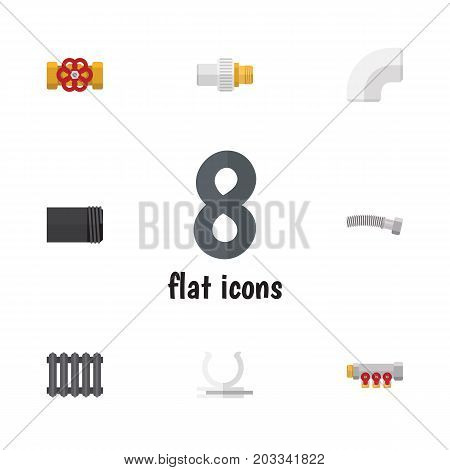 Flat Icon Plumbing Set Of Heater, Plastic, Corrugated Pipe And Other Vector Objects