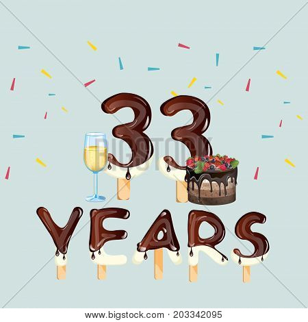 Colorful greeting card 33 Years. Vector illustration