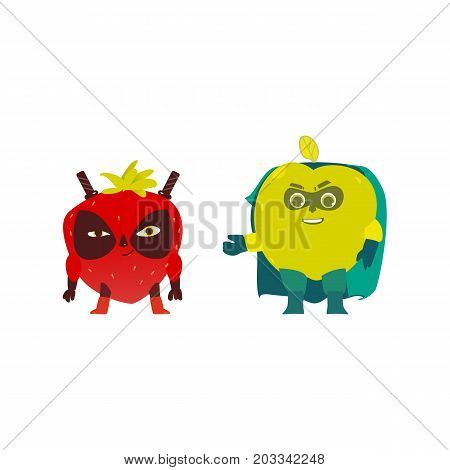 Apple and strawberry hero, superhero characters, guards, defendors, flat style cartoon vector illustrations isolated on white background. Strawberry and apple characters in hero, superhero costumes