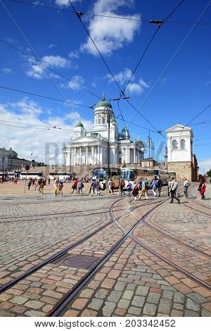 Helsinki, Finland - July 26, 2017: Angle shot of Senate Square and cathedral in Helsinki